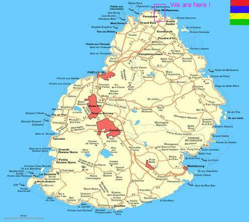 Location of sand self catering bungalow at calodyne in - Where is port louis mauritius located ...